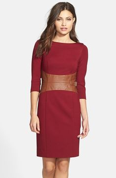 Nue by Shani Faux Leather Waist Ponte Sheath Dress available at #Nordstrom