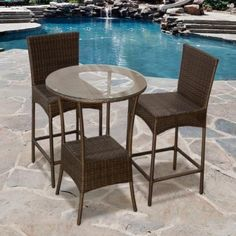 """3 Piece Outdoor Wicker Patio Bar Chair Set by TK Classics. $698.00. Rust resistant Powder Coated Aluminum Frame for maximum durability. High Density PE (polyethylene) recyclable espresso wicker - NOT made with PVC which is toxic and non-recyclable. All-weather indoor/outdoor resin wicker in espresso. (2) Outdoor Wicker Patio Barstools - 18""""W x 18""""D x 44""""H (1) Outdoor Wicker Patio Bar Table - 27.5"""" Dia. X 39.5""""H. Our Contemporary Barstool is a perfect fit for your indoor ..."""