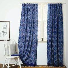 "Indigo curtains Blue curtains window boho bedroom home decor housewares block print home living - ONE panel - GREECE indigo 57""w x 84""L by Ichcha on Etsy https://www.etsy.com/listing/234157404/indigo-curtains-blue-curtains-window"
