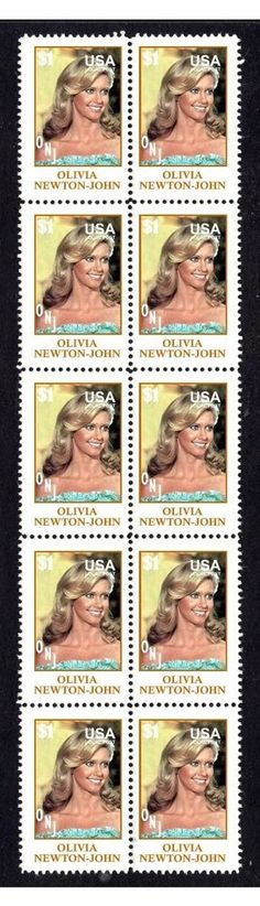 OLIVIA NEWTON-JOHN STRIP OF 10 MINT STAMPS 1