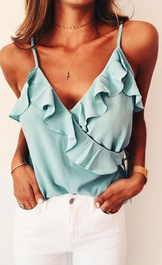 Nordstrom - Leith A feminine tank trimmed with subtle ruffles, this summery chiffon tank is fastened at the waist with a slender tie. Available in ivory floral and teal. (affiliate)