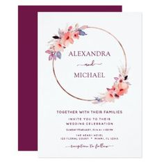 Shop Burgundy Floral Rose Gold Geometric Wedding Invitation created by Hot_Foil_Creations. Personalize it with photos & text or purchase as is! Unique Wedding Invitation Wording, Wedding Invitation Background, Burgundy Wedding Invitations, Minimalist Wedding Invitations, Cheap Wedding Invitations, Beautiful Wedding Invitations, Printable Wedding Invitations, Floral Invitation, Invitation Ideas