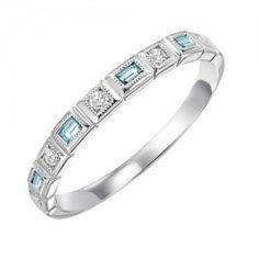 RINGS - 10k White Gold Diamond And Emerald Cut Aquamarine Birthstone Ring