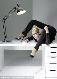 Think YOU are being overstretched in the office? Female contortionist brings new meaning to the term flexible working in incredible calendar shoot Flexible Girls, Flexible Working, Aerial Costume, New Starter, Russian Culture, Twist And Shout, Female Gymnast, Out Of Shape, Office Set