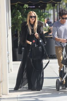 RZ @ lunch in BH w/ Sky & Joey, rocking the Delfina pant & Zoe II pre-fall jacket from her collection