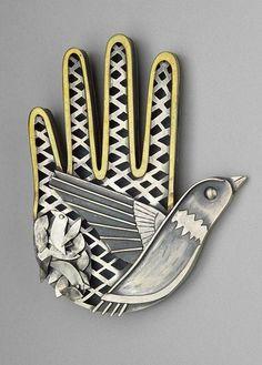 Bird in the Hand Brooch by Kiff Slemmons