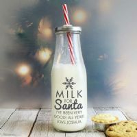 Personalised Milk for Santa Milk Bottle With Straw
