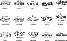 International Logos - The Globalization of Coca-Cola Coca Cola, Creative Illustration, Ethiopia, Coco, Logo Design, Graphic Design, Writing, Gaza Strip, Glass Bottle