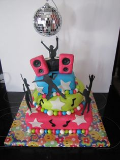 Dance party cake, cake board.. silhouettes- inspiration
