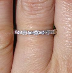 Vintage Stacker band 14KT white gold and Diamond stacking band, via Etsy. I love this style of wedding band.