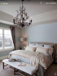 The chandelier just seems to beautifully polish off this room...it's so elegant and sophisticated.