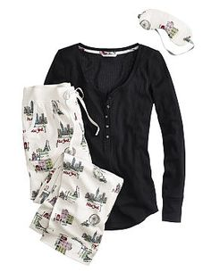 *****The Dreamer Henley Pajama - Victoria's Secret City Girl Print--order by Dec 3 and get free slippers! Cute Pjs, Cute Pajamas, Girls Pajamas, Lounge Outfit, Lounge Wear, Lingerie Sleepwear, Nightwear, Holiday Lingerie, Underwear