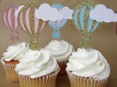 Hot air ballon cupcake toppers baby shower by MermaidLagoonShop