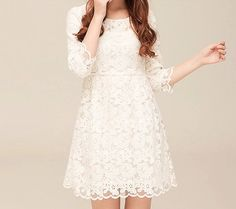 Fashion White A Dress, Women Long Sleeve Lace Dress, Special Occasion High Knee Dress, Wedding Party Dress 001 on Etsy, $39.80