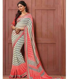 Naksh - Classy Off White And Peach Crape Saree