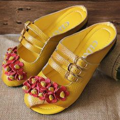 Leather Backless Buckle Flower Soft Flat Lazy Shoes