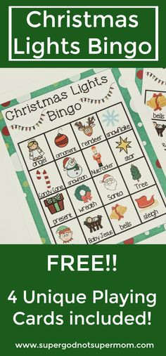 Play Christmas Lights Bingo as you look at Christmas displays this season.  This set includes 4 unique cards with both pictures and text. www.supergodnotsupermom.com