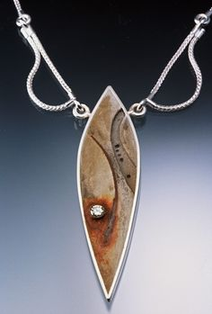 Necklace | Tom McCarthy.  Sterling, Cement, Steel, 61 point Diamond, Rust, Ink