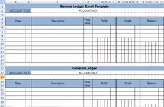 Get General Ledger Template in Excel XLS | ExcelDox