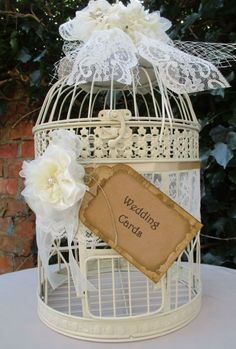 Round Metal Vintage Style Birdcage Wedding Card Holder Post Box Decorated with handmade flowers with a pearl centre a handmade wedding card sign Size