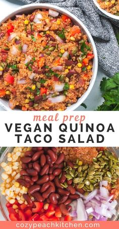 Vegetarian Recipes Discover Vegan Quinoa Taco Salad This vegan quinoa taco salad is versatile and jam packed with nutrients making it the perfect healthy meal prep recipe. Youll love the Mexican inspired flavors in this easy vegan salad! Vegan Dinner Recipes, Vegan Dinners, Lunch Recipes, Whole Food Recipes, Salad Recipes, Weeknight Dinners, Vegetarian Meal Prep, Healthy Meal Prep, Vegetarian Recipes