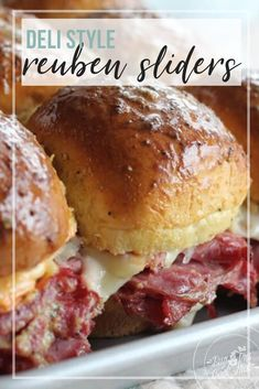 "These Reuben Sliders are made with classic corned beef, sauerkraut, cheese, and a zippy homemade sandwich sauce. These mini deli-style sandwiches are an easy appetizer that will impress. Codeword: ""addictive"".    #reubensliders #reubensandwich"