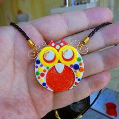 This pendant multicolored owl will be a wonderful gift :) I tried very hard when I made this pendant! I tried to make it nice, cute and elegant. I hope I succeeded :) More: https://www.etsy.com/listing/515587858/handmade-pendant-multicolored-owl-owl