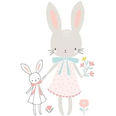 Affiche enfant lapins fille Sweet Bunnies by Flora Waycott x 40 cm), Lilipinso. Grande affiche de la collection Sweet Bunnies by Flora Waycott - L'affiche Illustration Mignonne, Cute Illustration, Friends Illustration, Lapin Art, Image Deco, Art Mignon, Decoration Stickers, Baby Posters, Child Room
