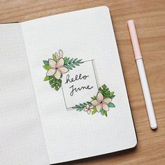 """journal monthly cover page, June cover pag. -Bullet journal monthly cover page, June cover pag. - cauliflower july calligraphy bullet journal lettering tips calligraphie carnet bujo 50 amazing doodle """"How to's"""" for your bullet journal Bullet Journal Nouvel An, Bullet Journal Cover Page, Bullet Journal 2019, Bullet Journal Notes, Bullet Journal Themes, Bullet Journal Spread, Bullet Journal Layout, Bullet Journal Inspiration, Journal Pages"""