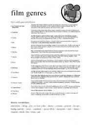 film genres - ESL worksheet by Lallemantia Film Movie, Movies, Films, Film Genres, Teaching English, Esl, Short Film, Worksheets, Education