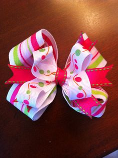 Hot pink and lime boutique bow by kidsinacandyshop on Etsy, $6.00