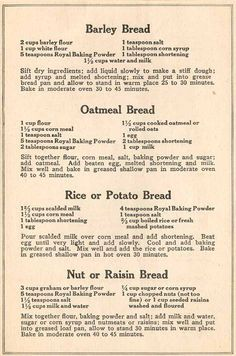 Best War Time Recipes: A Look at Preparedness Cooking Skills from the Past. Try the potato bread for GF Retro Recipes, Old Recipes, Vintage Recipes, Cookbook Recipes, Cake Recipes, Dessert Recipes, Cooking Recipes, Healthy Recipes, Cornbread Recipes