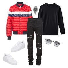 """""""Untitled #658"""" by aintdatjulian on Polyvore featuring Lands' End, Moncler, Yves Saint Laurent, NIKE, Rolex, Garrett Leight, men's fashion and menswear"""