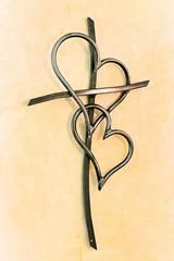 """Metal Double Heart Cross Steel with a clear coat finish Made in the USA Avalable in 15"""", 30"""", and 42""""..."""
