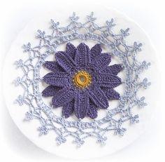 Linen Doily in Purple & Grey / Linen / by ArtisticNeedleWork, $18.50