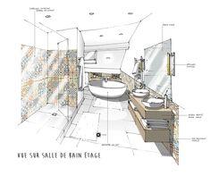croquis architecture intérieure-Dominique JEAN pour EDECO rénovation-Carreaux de ciment-baignoire en ilot-sous pente.