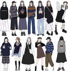 Korean Outfit Street Styles, Korean Outfits, Korean Girl Fashion, Korean Street Fashion, Kpop Fashion Outfits, Anime Outfits, Hijab Fashion, Fashion Design Drawings, Fashion Sketches