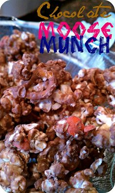 Chocolate Moose Munch- just made this. Not sure there is going to be any left for the party tonight- YUM Yummy Treats, Delicious Desserts, Sweet Treats, Yummy Food, Healthy Treats, Moose Munch, Chocolate Moose, Cereal Treats, Popcorn Recipes