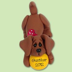 DAUSCHUND Puppy DOG in Box HANDMADE Polymer Clay Personalized Christmas Ornament