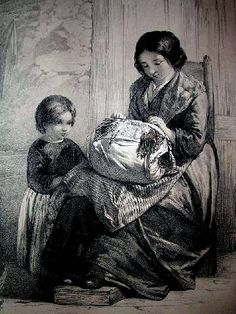 Lace Maker ~ 1855 ~ Walter Goodall (English, ~ He was youngest son of Edward Goodall, the engraver, and brother of the artists Frederick Goodall and Edward Angelo Goodall. He studied in the school of design at Somerset House and at the Royal Ac Bobbin Lacemaking, Types Of Lace, Lace Art, Lace Painting, Images Vintage, Crafts With Pictures, Lace Jewelry, Lace Making, Lace Patterns