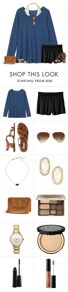 """Wishing this was my OOTD..."" by maggie-prep ❤ liked on Polyvore featuring Toast, Body by Victoria, Steve Madden, Ray-Ban, Kendra Scott, Tory Burch, Too Faced Cosmetics, Kate Spade, MAC Cosmetics and tarte"