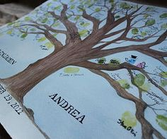 wedding guest book tree chirp paperie rustic hand painted custom