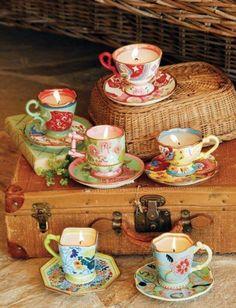Antique tea cup candles...