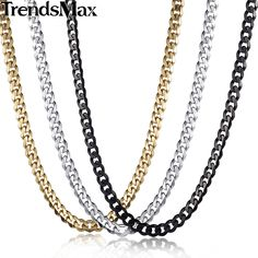 Curb Steel Necklace 3 color to choose