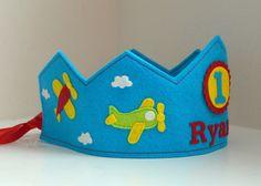 Airplane Birthday Crown, Wool Felt, Personalized, Smash Cake, First Birthday, Boy
