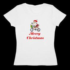 Women's bicycle t shirt Merry Christmas