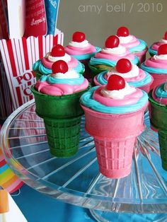 how to make cup cakes in cones - my mom used to make these for our birthdays!!