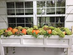 Top Three Outdoor Fall Window Decorations for Your Home Adding fall window decorations will take your home's curb appeal to the next level and is a creative way to decorate for the season. Check out these fall window decorations for your home. Fall Containers, Succulents In Containers, Container Flowers, Container Plants, Window Box Flowers, Flower Boxes, Fall Window Decorations, Garden Decorations, Winter Window Boxes