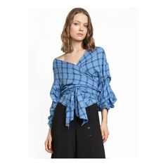 Fashion V Neck Tie Front Irregular Plaid Blouse ($26) ❤ liked on Polyvore featuring tops, blouses, blue, v-neck tops, tartan top, plaid blouse, blue blouse and tie front top