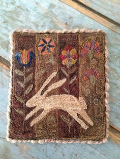 5.75in x 4.75in PRIMITIVE FOLK ART- HAND MADE PUNCH NEEDLE SPRING MAT HARE A LEAPIN #NaivePrimitive